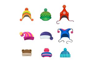 Pompons winter hats set