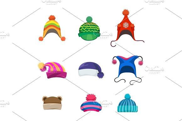 Pompons Winter Hats Set