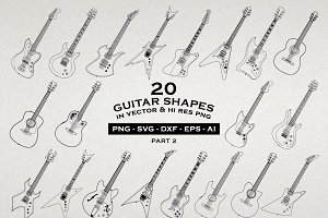 20 Guitar Illustrations Vector & PNG