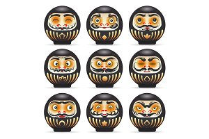 Black emotional daruma dolls set