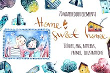 Sweet Home. Watercolor illustrations