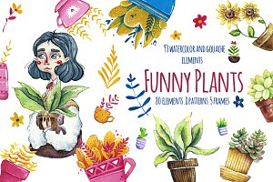 Funny Plants. Watercolor