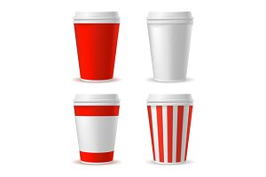 Red Blank Plastic Cup Set