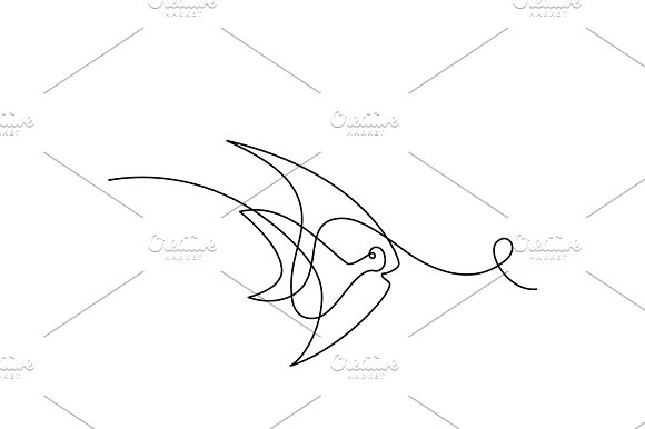 Continuous Line Exotic Fish Logo