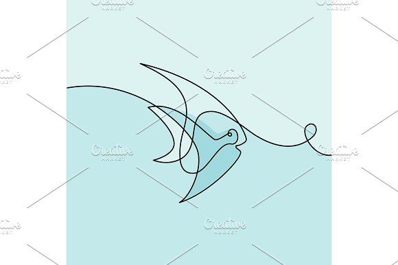 Continuous Line Exotic Fish Logo