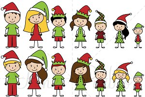 Christmas Stick Figure Clipart