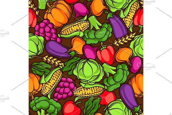 Harvest Seamless Pattern Autumn Illustration With Seasonal Fruits And Vegetables