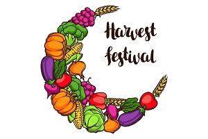 Harvest decorative element. Autumn illustration with ribbon, seasonal fruits and vegetables