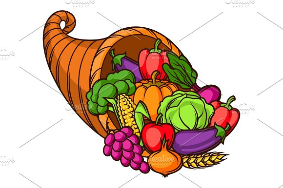 Harvest Illustration Autumn Cornucopia With Seasonal Fruits And Vegetables