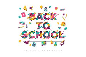Back to school typography design school icons