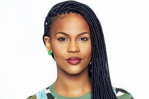 Portrait of pretty black woman in casual clothes