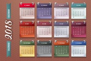 Calendar 2018. Vector.