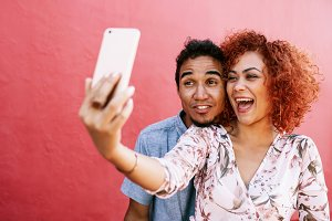 Young couple posing for a selfie