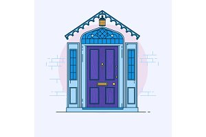 Blue front door on the brick wall with lantern. Vector building element