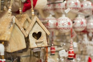 Hanging Christmas decoration in shop