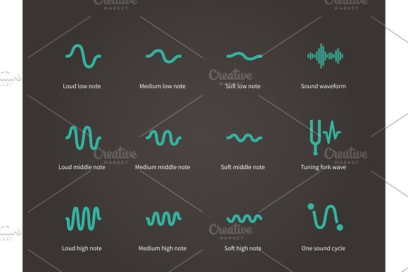 Sound and music waveform icons set.