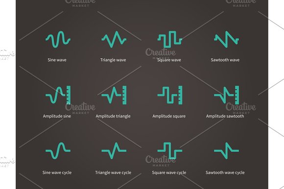 Voice Sound And Music Compression Types Icons Set