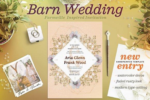 Faded Wedding At The Barn Card III