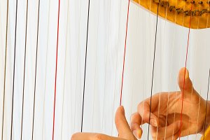 Hands playing celtic harp close-up