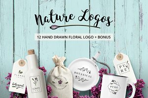 Nature & floral premade logos +BONUS