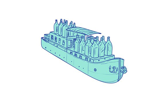 Gin Bottles On Barge Boat Drawing