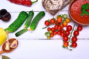 cucumber and red cherry tomatoes