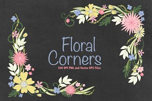 Floral Corners Vector EPS & PNG