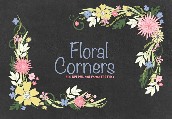 Floral Corners Vector EPS PNG