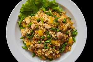 Rice with chicken meat