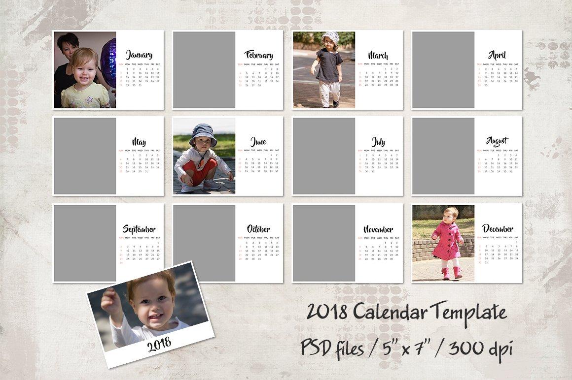 2018 Calendar Template Templates Creative Market
