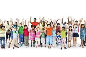Diverse happy kids (PNG)