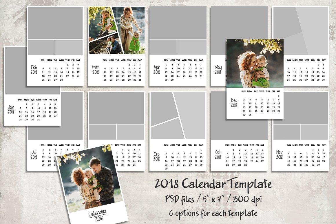 Calendar Design One Page : Calendar template templates creative market