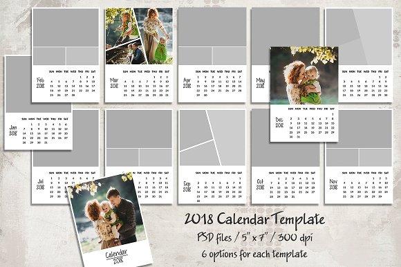 2018 Calendar Template ~ Templates ~ Creative Market