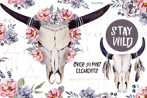 Stay wild boho skulls & bouquets