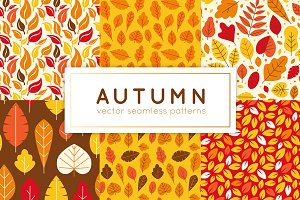 Autumn - vector seamless patterns