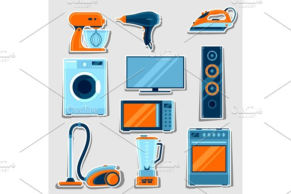Set Of Home Appliances Household Items For Sale And Shopping Advertising Design