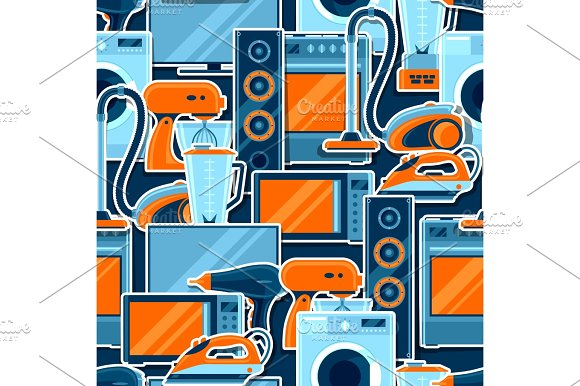 Seamless Pattern With Home Appliances Household Items For Sale And Shopping Advertising Background