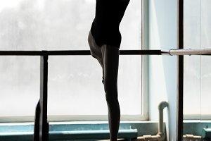 Ballet dancer in arabesque position