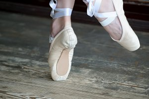 Dancing feet in ballet shoes