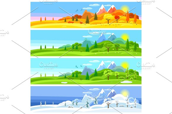 Four Seasons Landscape Banners With Trees Mountains And Hills In Winter Spring Summer Autumn