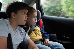 Boys looking out the car window