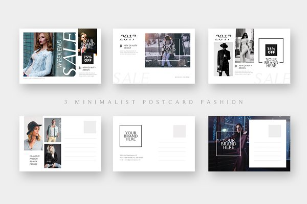 Card Templates - 3 Fashion Sales Postcard