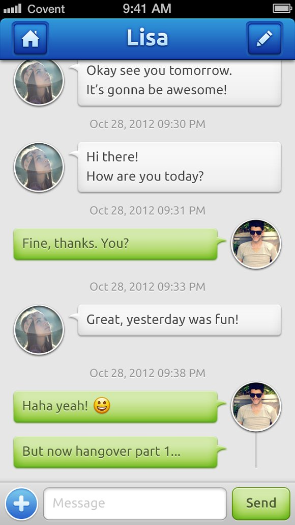 iPhone chat app psd