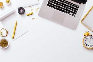 Desktop Laptop Notepad White