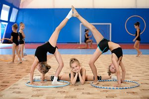 Gymnastic composition made by three