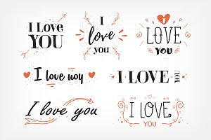 """I love you"" lettering set"