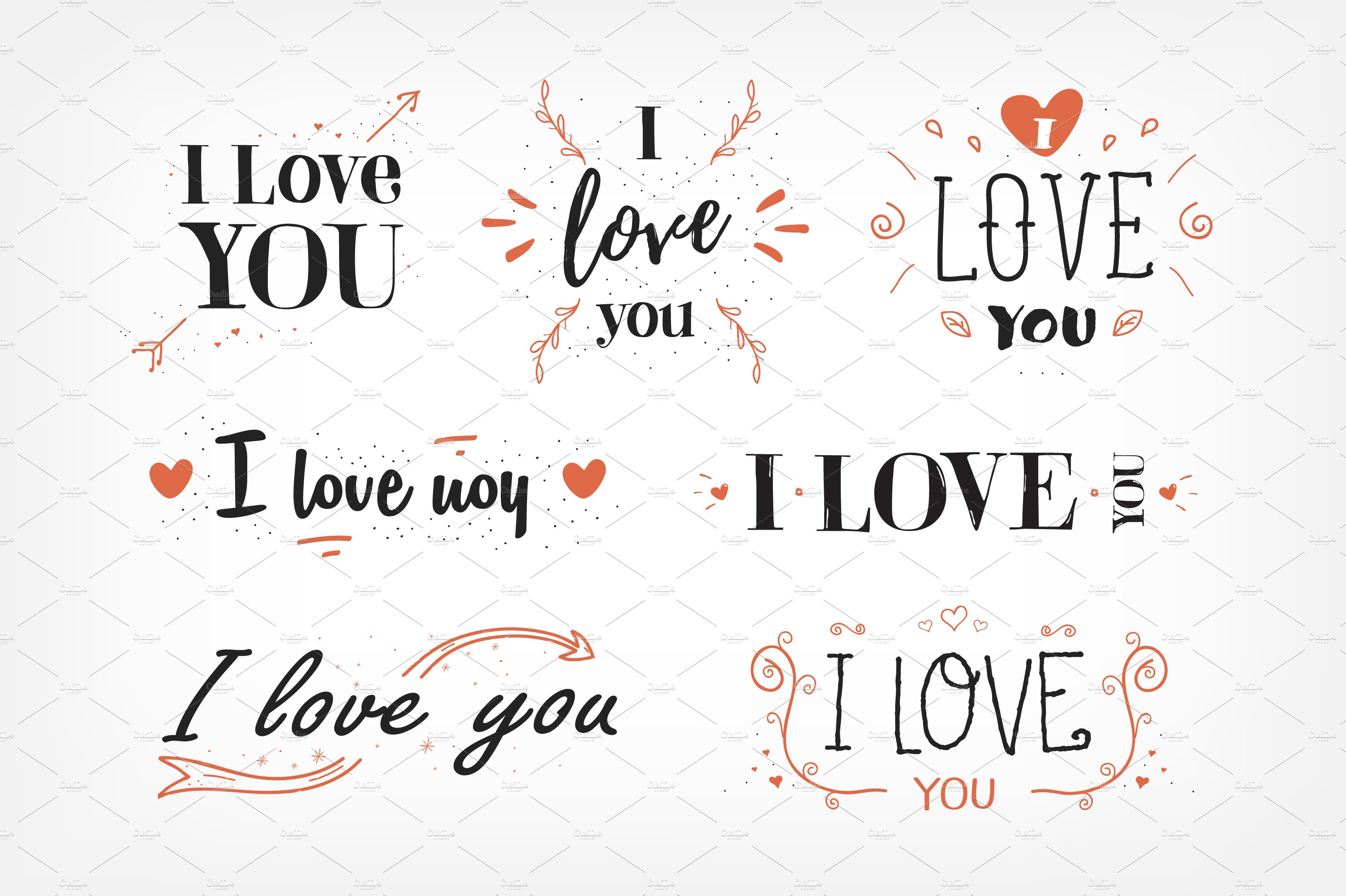 loving you letters quot i you quot lettering set illustrations creative market 23515 | i love you lettering 1