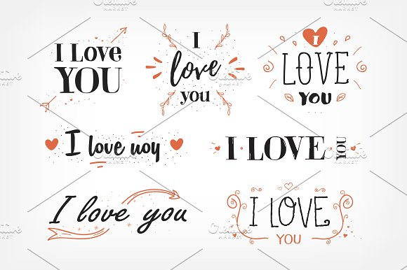 I Love You Lettering Set