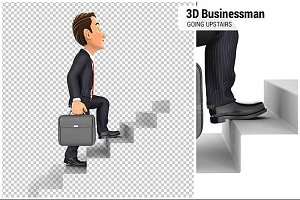 3D Businessman Going Upstairs