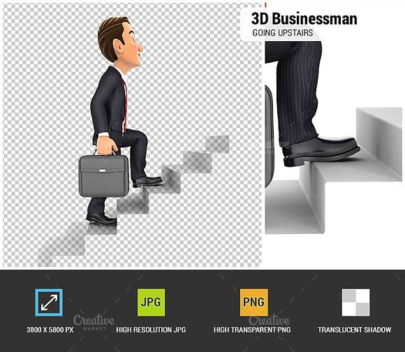 3D Businessman Going Upstairs